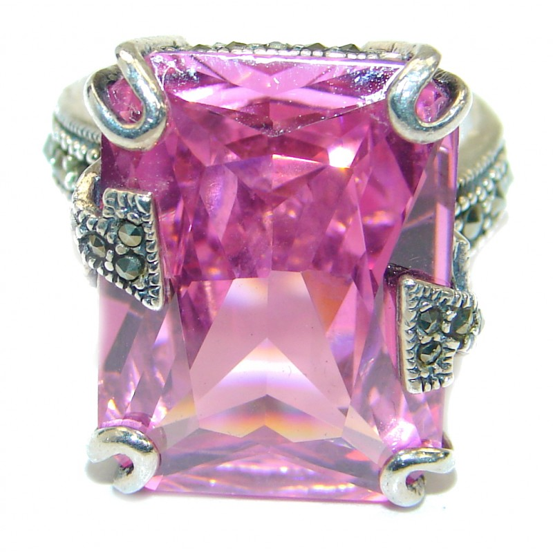 Pink Passion Cubic Zirconia .925 Sterling Silver handmade Cocktail Ring s. 7 3/4