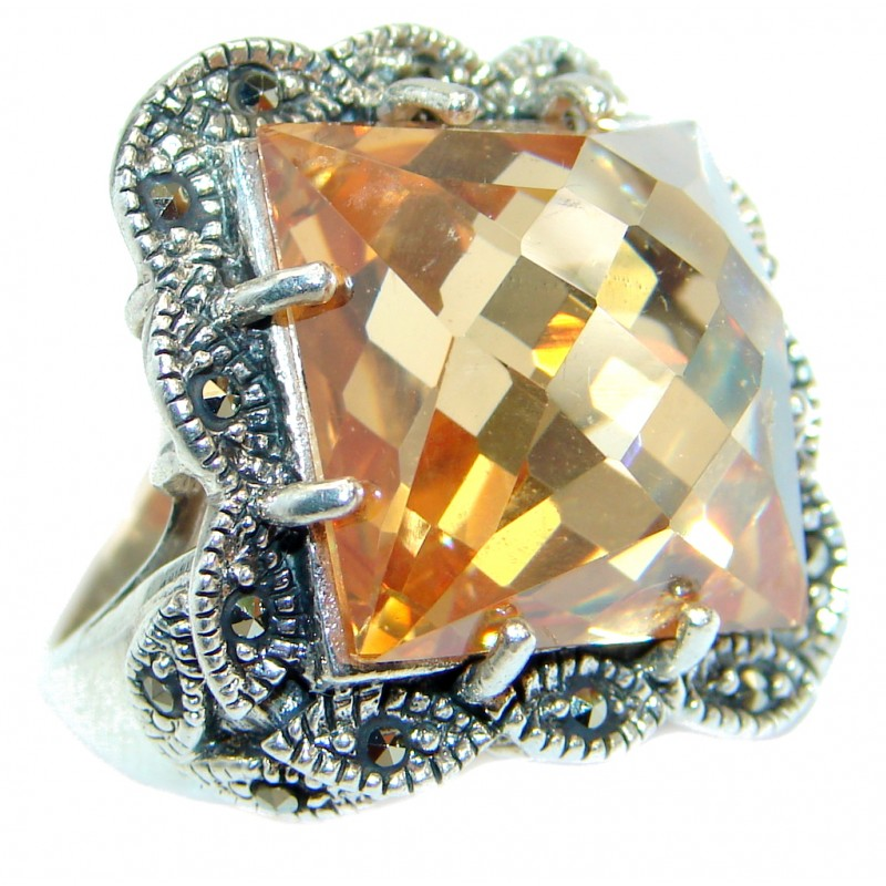 Baroque Style Golden Topaz Sterling Silver .925 Ring size 6