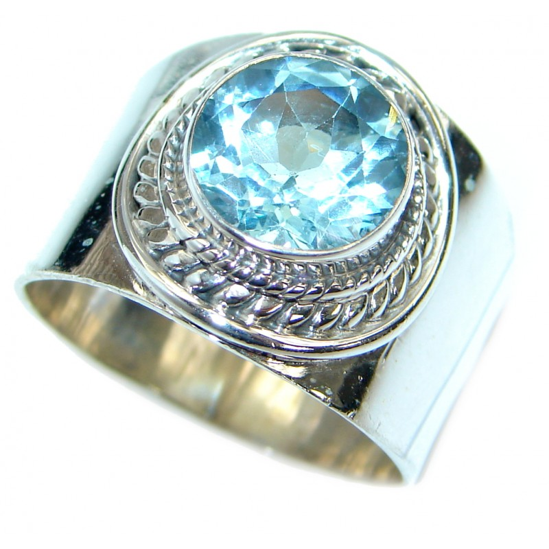 Energazing Swiss Blue Topaz .925 Sterling Silver handmade Ring size 10