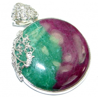 Huge Russian Eudialyte .925 Sterling Silver handcrafted Pendant
