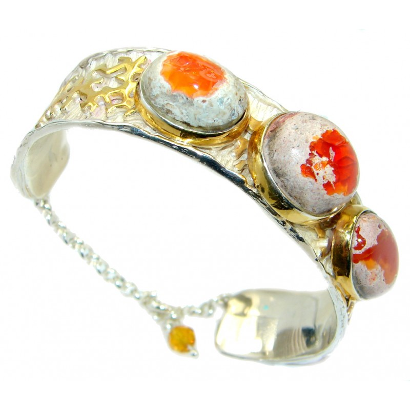 One of the kind Orange Mexican Fire Opal 18 ct Gold over 925 Sterling Silver handcrafted Bracelet