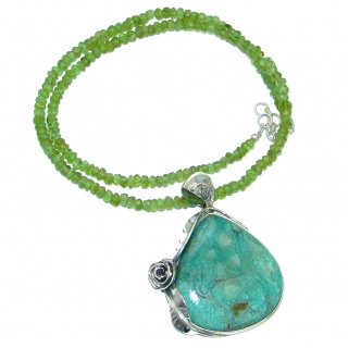 Chic Boho Style Turquoise Peridot Beads .925 Sterling Silver statement necklace