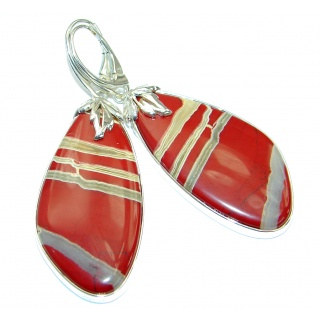 Boho Style - Back to nature Red Jasper .925 Sterling Silver handmade earrings