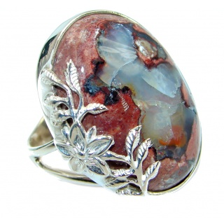Huge Mexican Opal .925 Sterling Silver handcrafted ring size 7 adjustable