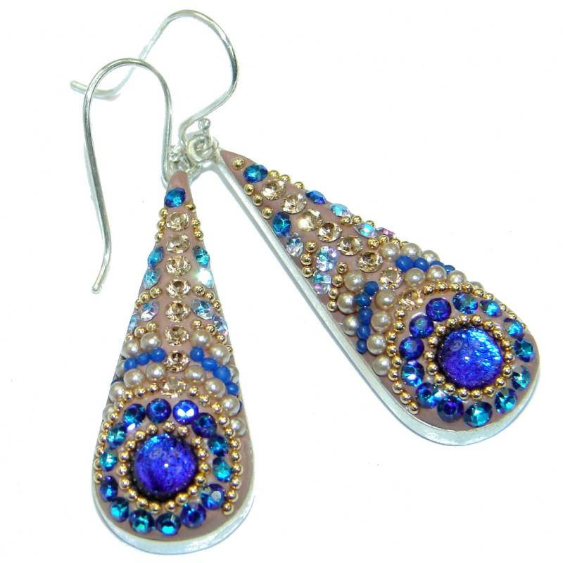 Handcrafted In Mexico Dichroic Glass .925 Sterling Silver earrings
