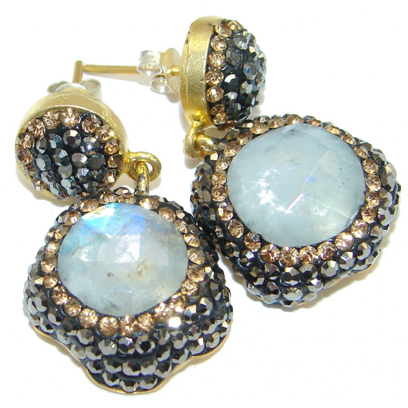 White Moonstone Gold over .925 Sterling Silver stud earrings