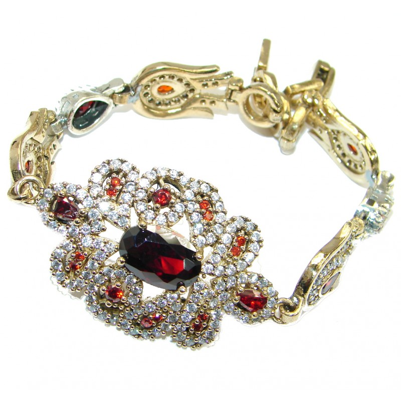 Victorian Style Pink Ruby & White Topaz .925 Sterling Silver Bracelet