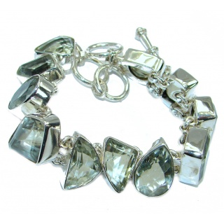 Rich Design Authentic Green Amethyst .925 Sterling Silver handmade Bracelet