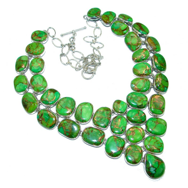 Chic Boho Style Green Turquoise with golden Copper vains .925 Sterling Silver statement necklace