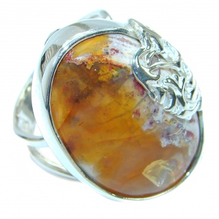 Classic Mexican Opal oxidized .925 Sterling Silver handcrafted ring size 7 adjustable