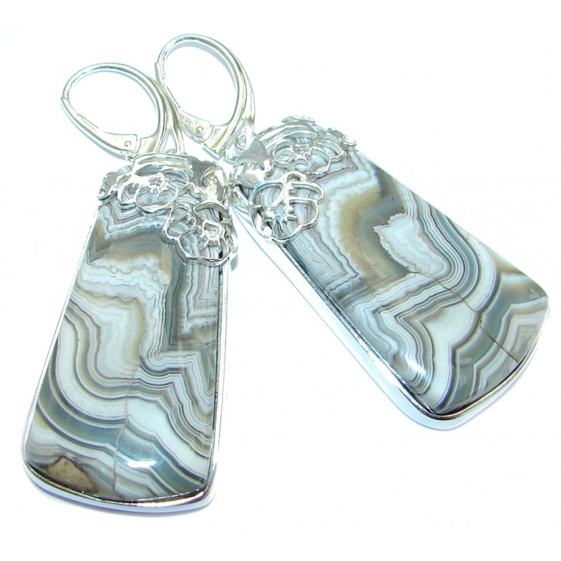 Exclusive Crazy Lace Agate .925 Sterling Silver earrings / Long