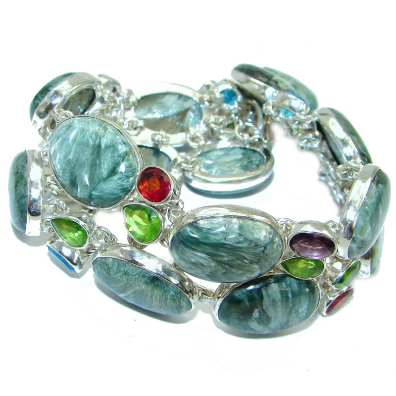 Rich Design Genuine Russian Seraphinite .925 Sterling Silver handmade Bracelet