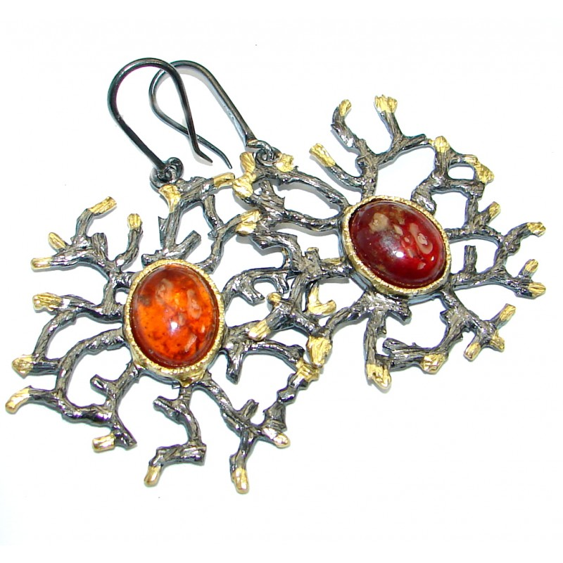 Stunning Brazilian Hessonite Garnet .925 Sterling Silver handmade Earrings