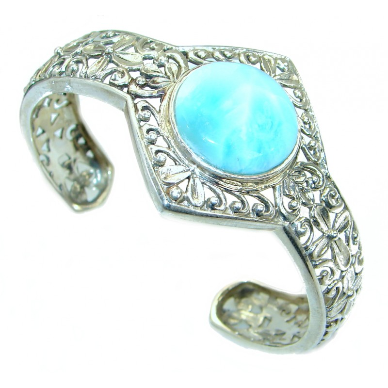 Harmony Sunset Blue Larimar .925 Sterling Silver handcrafted Bracelet / Cuff