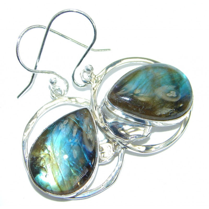 Genuine Labradorite .925 Sterling Silver handmade earrings