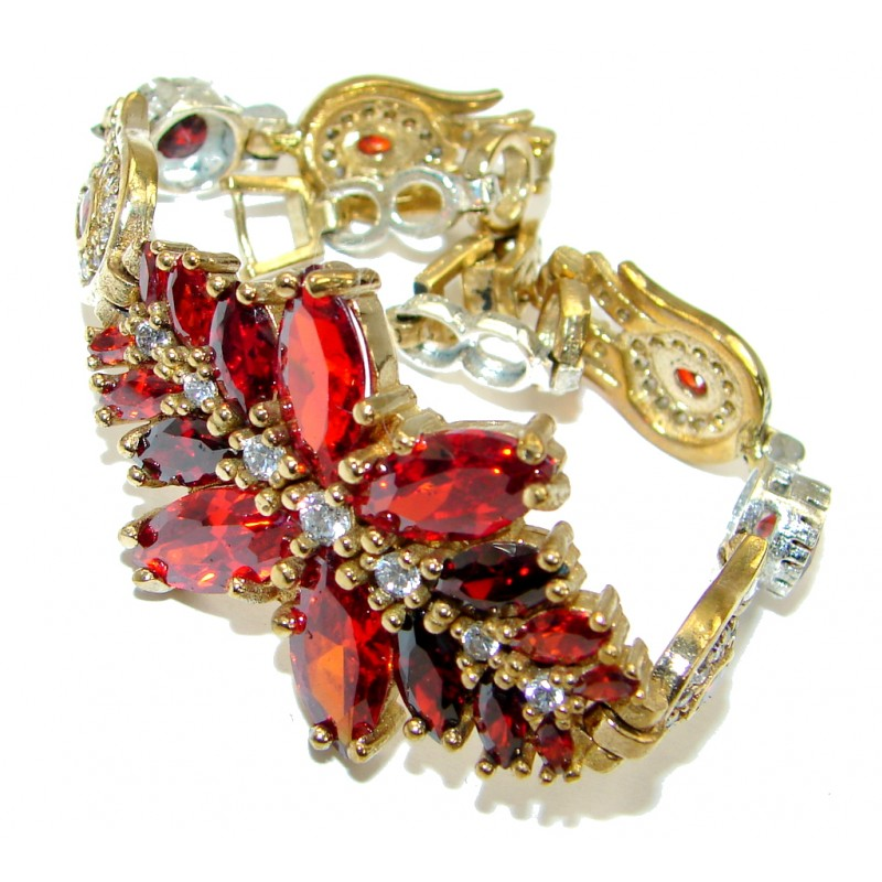 Victorian Style Created Red Ruby & White Topaz Copper over Sterling Silver Bracelet