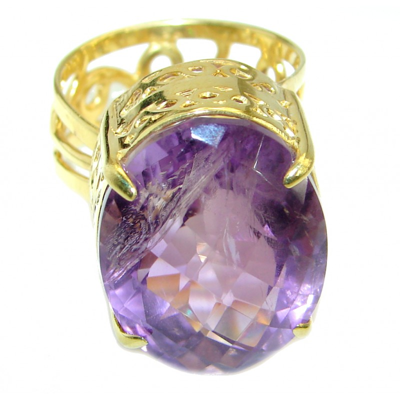 Timeless Authentic Amethyst Gold over .925 Sterling Silver handmade Ring size 7 adjustable