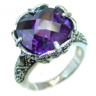 Timeless created Alexandrite Marcasite Sterling Silver Ring s. 6