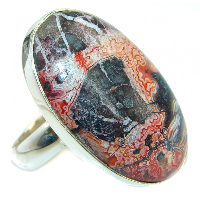 Genuine Red and Black Cloudy Jasper .925 Sterling Silver handcrafted ring s. 8 adjustable