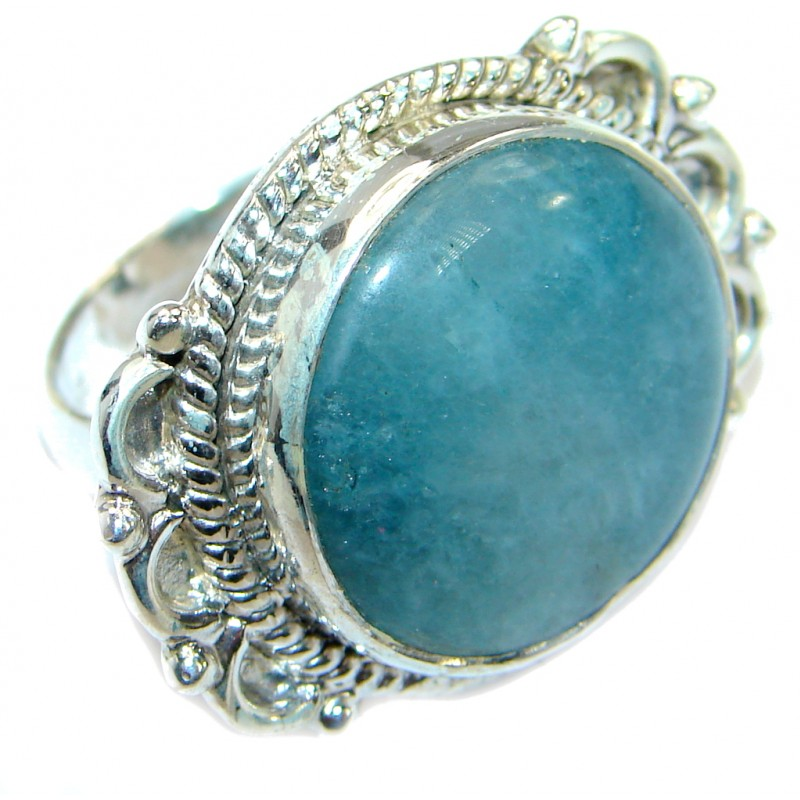 Passiom Fruit Natural Aquamarine .925 Sterling Silver Ring s. 6