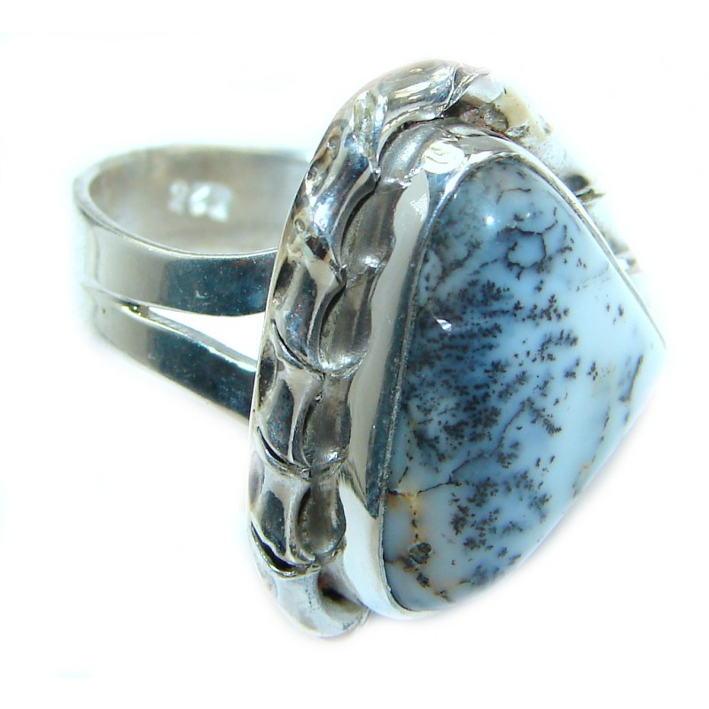 Great Dendritic Agate .925 Sterling Silver hancrafted Ring s. 6