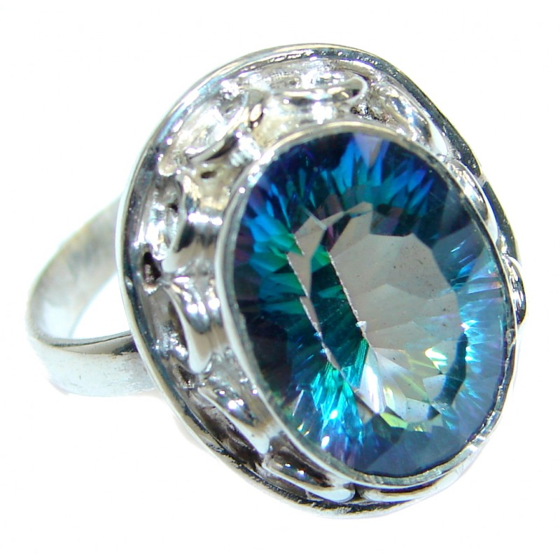 Perfect Mystic Topaz Sterling Silver Ring s. 6 1/4