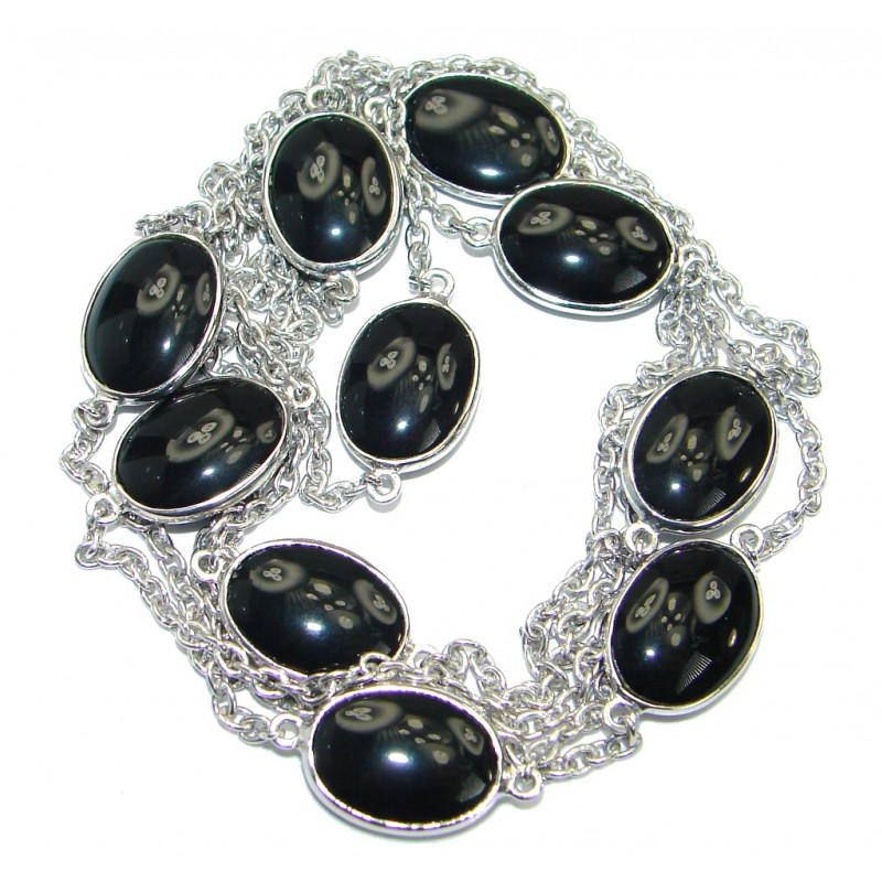 36 inches Genuine Onyx Stones .925 Sterling Silver handcrafted Necklace