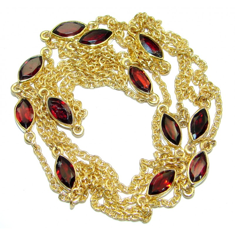 36 inches Genuine Garnet Gold plated over Sterling Silver handmade necklace