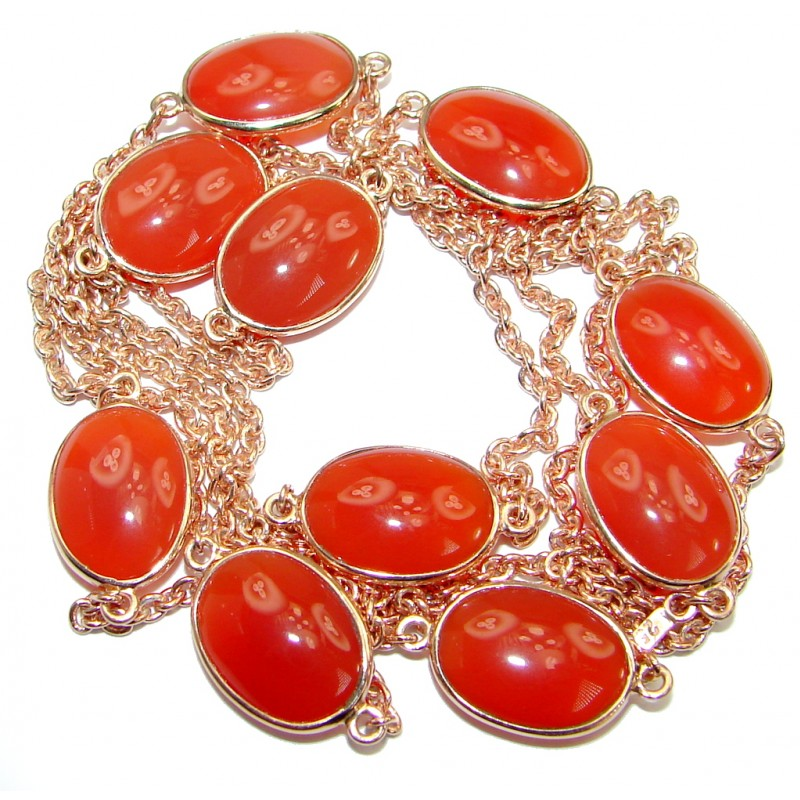 36 inches genuine Carnelian Rose Gold .925 Sterling Silver Station Necklace