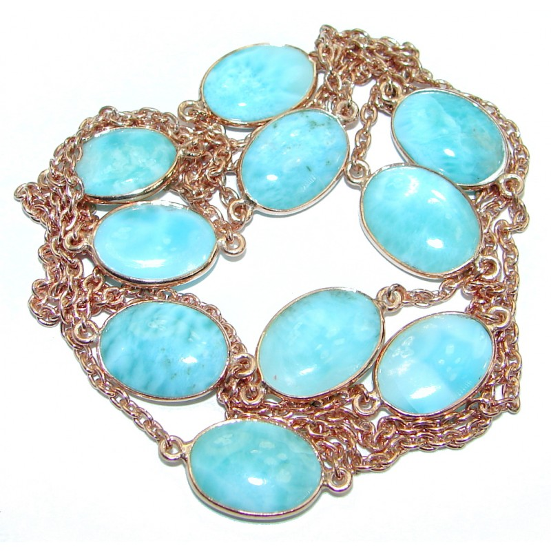 36 inches Genuine Larimar Stones .925 Sterling Silver Handcrafted station Necklace