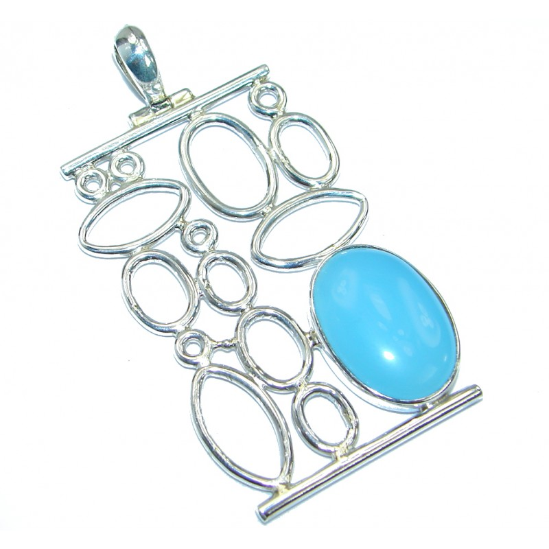 Very Unique design Blue Aura Chalcedony .925 Sterling Silver handmade Pendant