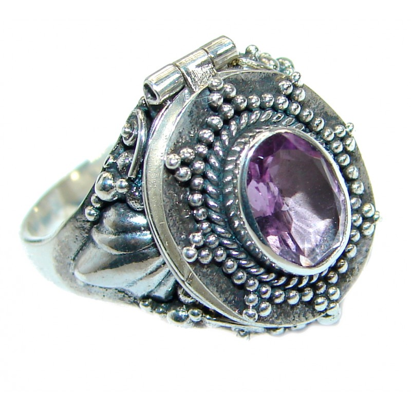 Exotic Pink Amethyst .925 Sterling Silver Poison Ring s. 7