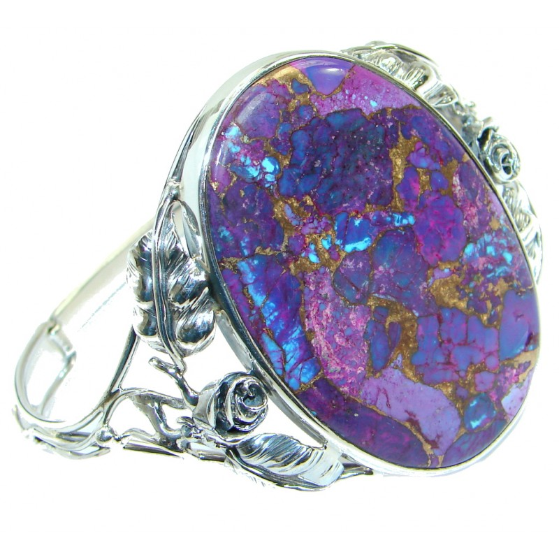 Large Handcrafted Purple Turquoise .925 Sterling Silver Bracelet / Cuff