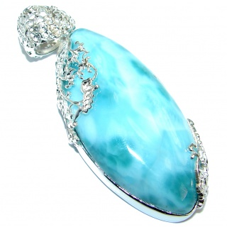 Huge Top quality Genuine Larimar .925 Sterling Silver handmade pendant
