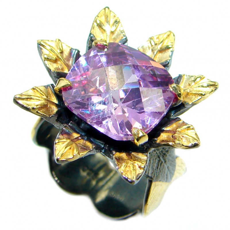 Magic purple Cubic Zirconia .925 Sterling Silver handmade Ring s. 8