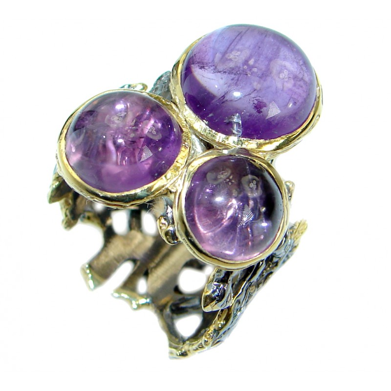 Timeless Authentic Amethyst Gold over .925 Sterling Silver handmade Ring size 8