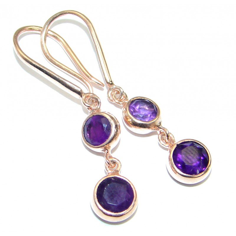 Vintage Style Amethyst 18 ct Gold over .925 Sterling Silver handmade earrings