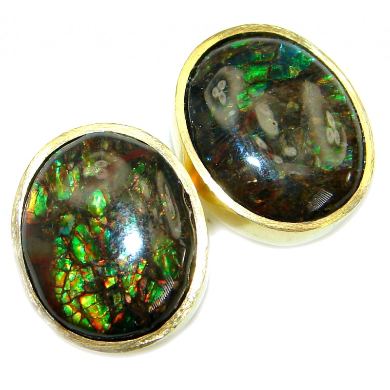 Orange Aura Fire Ammolite Gold over .925 Sterling Silver handmade stud earrings