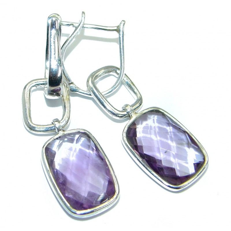 Perfect Amethyst .925 Sterling Silver handmade earrings