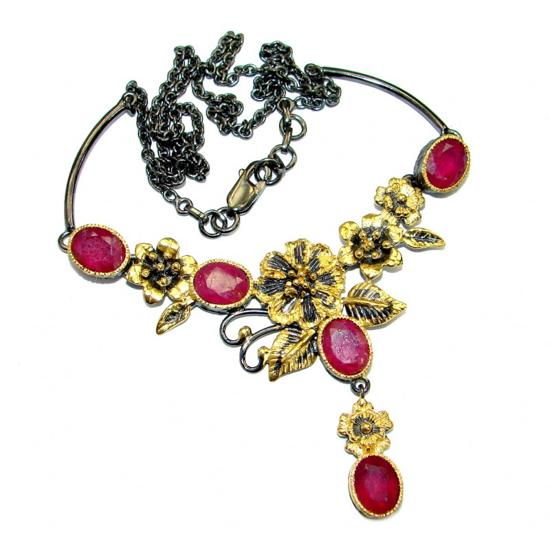 Authentic Ruby Gold Rhodium over .925 Sterling Silver handmade Statement Necklace