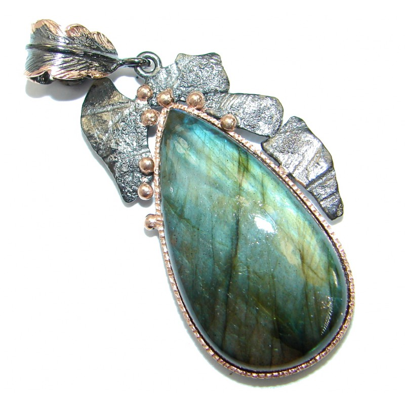 Highest quality genuine Fire Labradorite Rose Gold over .925 Sterling Silver handmade Pendant