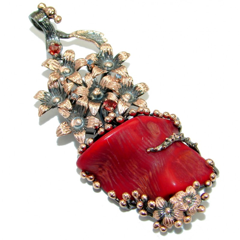 Positive Energy large Red Fossilized Coral Garnet .925 Coral Sterling Silver handmade pendant