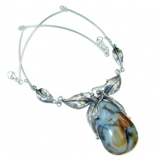 Aura Of Beauty Natural Agate .925 Sterling Silver handcrafted necklace