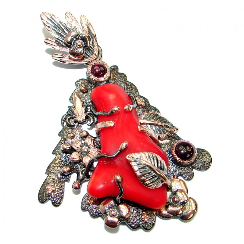 Authentic Red Fossilized Coral Garnet .925 Coral Sterling Silver handmade pendant