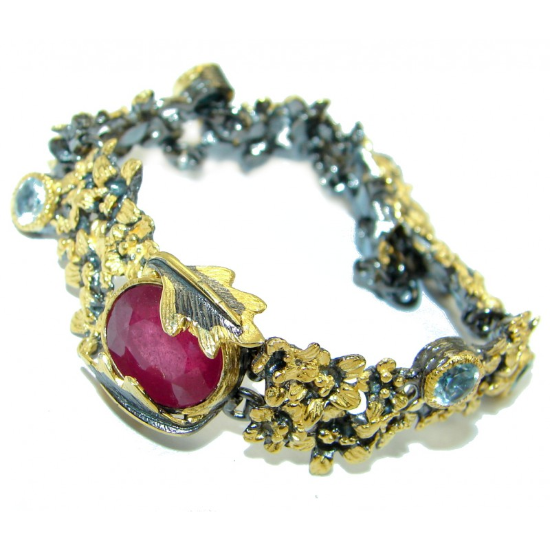 Floral Design genuine Ruby Rose Gold over .925 Sterling Silver handcrafted Bracelet