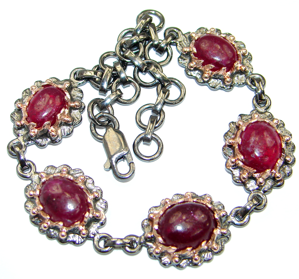 Gold And Silver Bracelets: Genuine Ruby Rose Gold Over .925 Sterling Silver