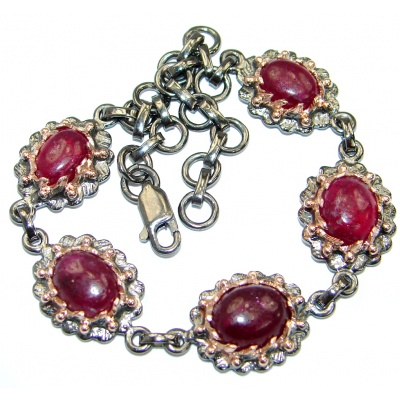Genuine Ruby Rose Gold over .925 Sterling Silver handcrafted Bracelet