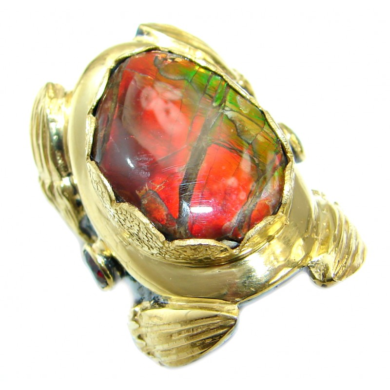 Pure Energy Fire Genuine Canadian Ammolite .925 Sterling Silver handmade ring s. 6