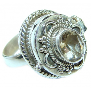 Exotic Citrine .925 Sterling Silver Poison Ring s. 8