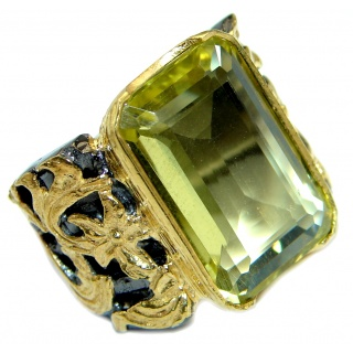 Huge Energy Authentic Citrine Gold over .925 Sterling Silver Cocktail Ring size 7 1/2